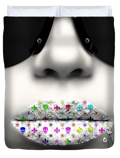 Kiss Me Silver Duvet Cover