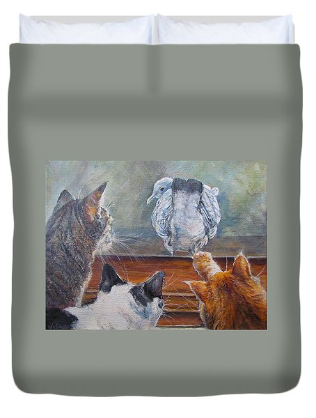 Duvet Cover featuring the painting Kiss My Assssssss by Donna Tucker