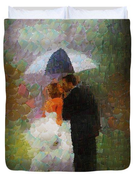 Kiss Under The Rain Duvet Cover