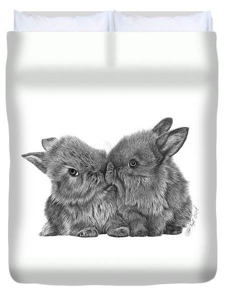 Kissing Bunnies - 035 Duvet Cover by Abbey Noelle