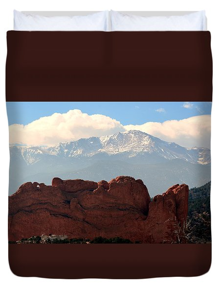 Kissing Camels Against Pikes Peak Duvet Cover by Clarice  Lakota