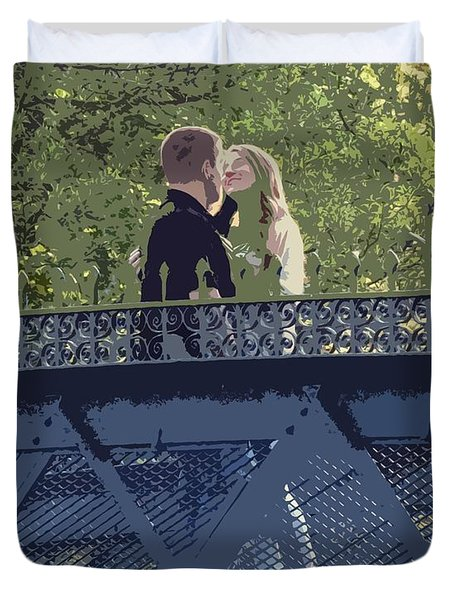 Kissing On A Bridge Duvet Cover