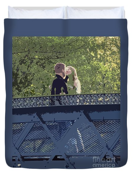 Kissing On A Bridge Duvet Cover