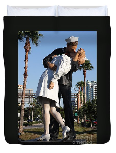 Kissing Sailor - The Kiss - Sarasota Duvet Cover by Christiane Schulze Art And Photography