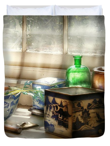 Kitchen - In A Kitchen Window Duvet Cover