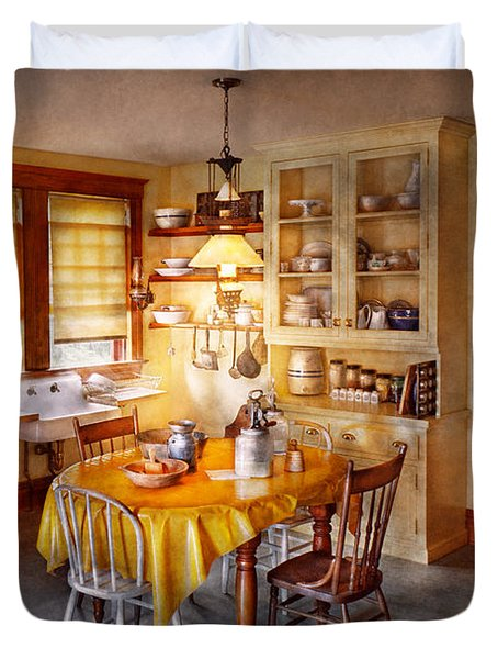 Kitchen - Typical Farm Kitchen  Duvet Cover by Mike Savad