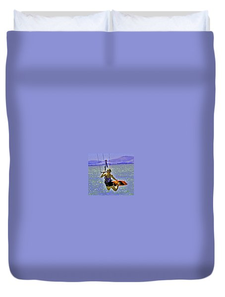 A Kite Board Hoot Duvet Cover