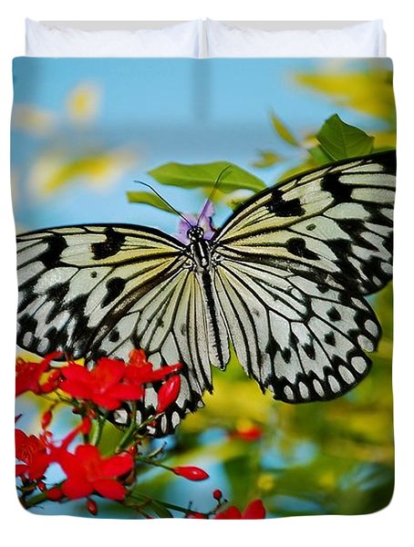 Duvet Cover featuring the photograph Kite Butterfly by Peggy Franz