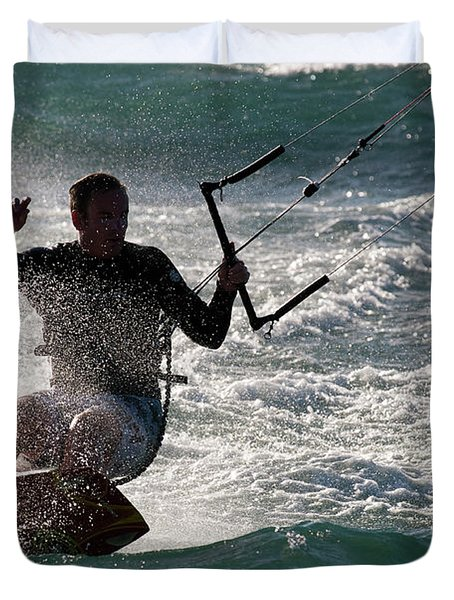 Kite Surfer 01 Duvet Cover by Rick Piper Photography
