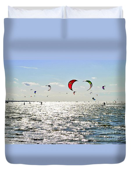 Kitesurfing In The Sun Duvet Cover