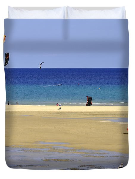 Duvet Cover featuring the photograph Kitesurfing Spot And Beach View At Melia Gorionez  by Julis Simo