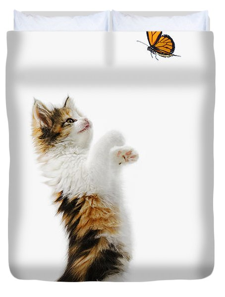 Kitten And Monarch Butterfly Duvet Cover by Wave Royalty Free