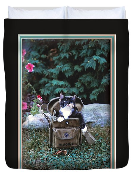 Kitten In A Canvas Bag Duvet Cover by Patricia Keller