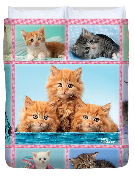 Kittens Gingham Multi-pic Duvet Cover