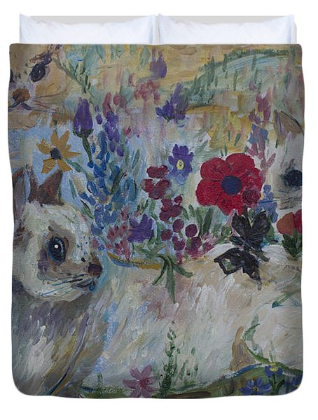 Kittens In Wildflowers Duvet Cover by Avonelle Kelsey