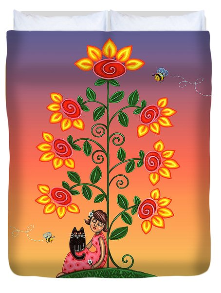 Kitty And Bumblebees Duvet Cover by Victoria De Almeida