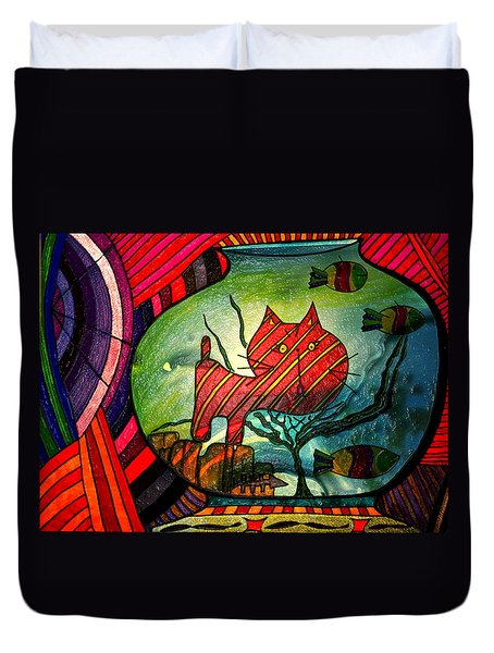 Kitty In A Fish Bowl - Abstract Cat Duvet Cover