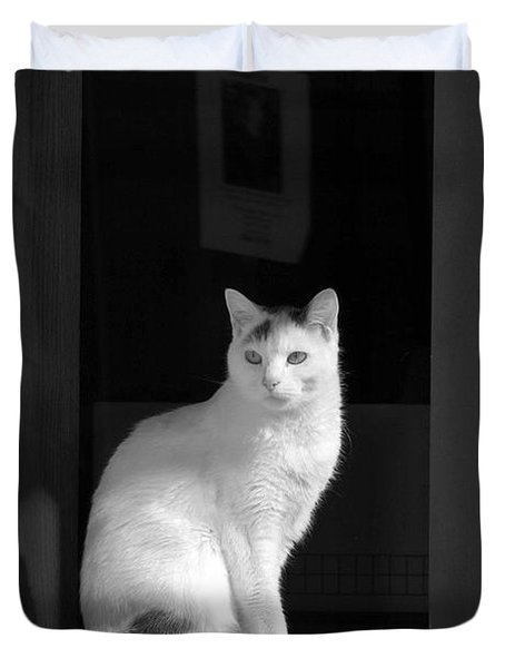Kitty In The Window Duvet Cover