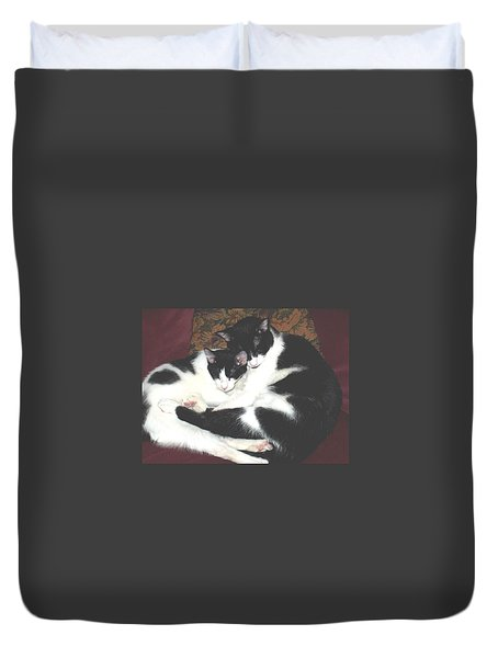 Duvet Cover featuring the photograph Kitty Love by Marna Edwards Flavell