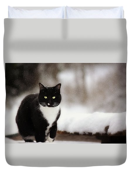 Kitty Snow Play Duvet Cover