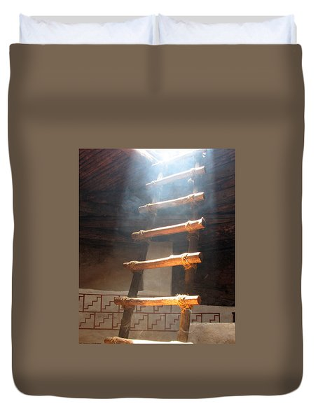 Duvet Cover featuring the photograph Kiva Ladder by Marcia Socolik
