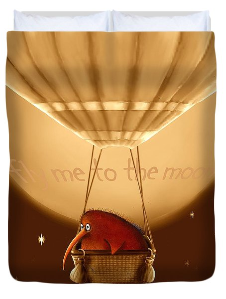 Kiwi Bird Kev - Fly Me To The Moon - Sepia Duvet Cover