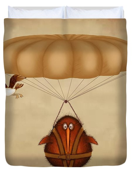 Kiwi Bird Kev Parachuting Duvet Cover by Marlene Watson