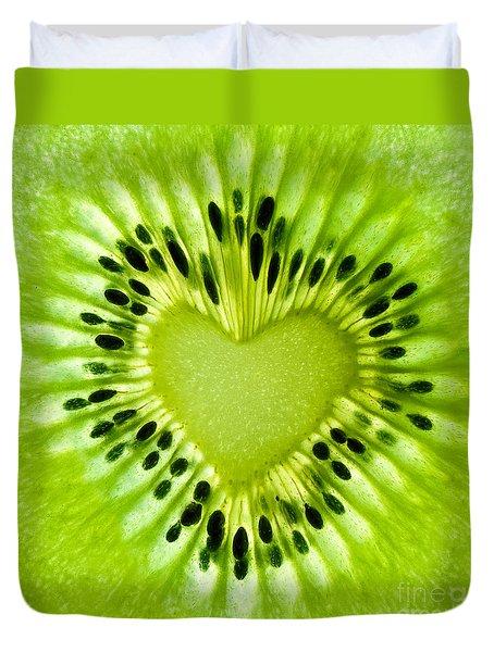 Kiwi Heart Duvet Cover