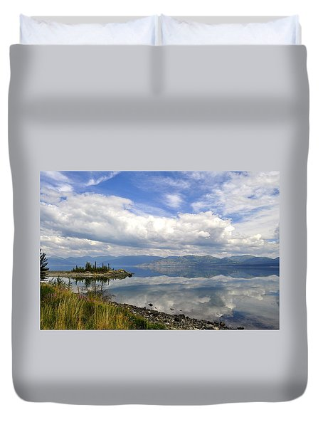 Duvet Cover featuring the photograph Kluane Reflections by Cathy Mahnke