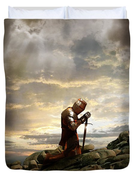 Kneeling Knight Duvet Cover