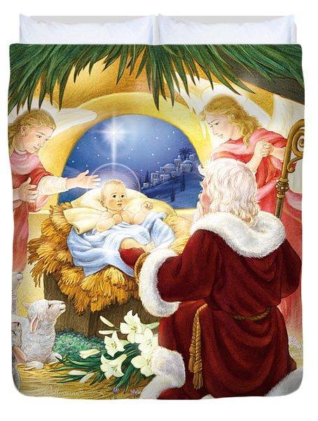 Kneeling Santa Nativity Duvet Cover
