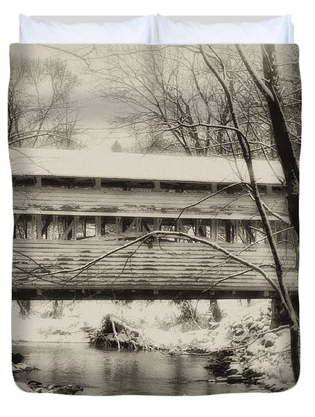 Knox Valley Forge Covered Bridge Duvet Cover by Bill Cannon