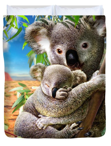 Koala And Cub Duvet Cover by Adrian Chesterman