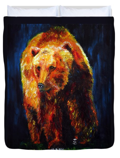 Kobuk's Domain Contemporary Bear Painting Duvet Cover