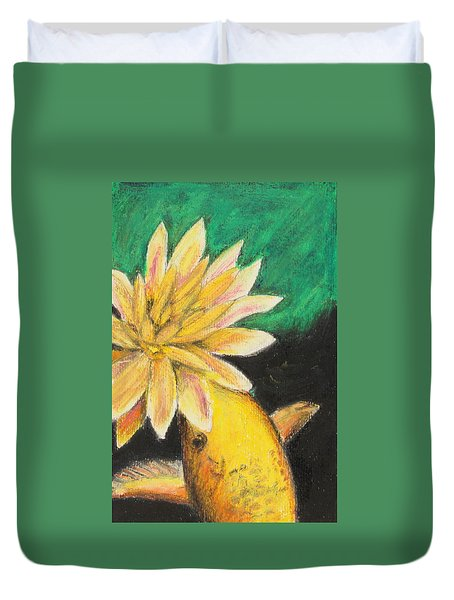 Duvet Cover featuring the painting Koi And The Lotus Flower by Jeanne Fischer