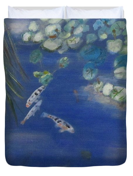 Duvet Cover featuring the painting Koi At Red Butte Gardens by Linda Feinberg