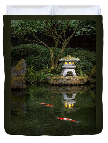 Koi By Lantern Light Duvet Cover