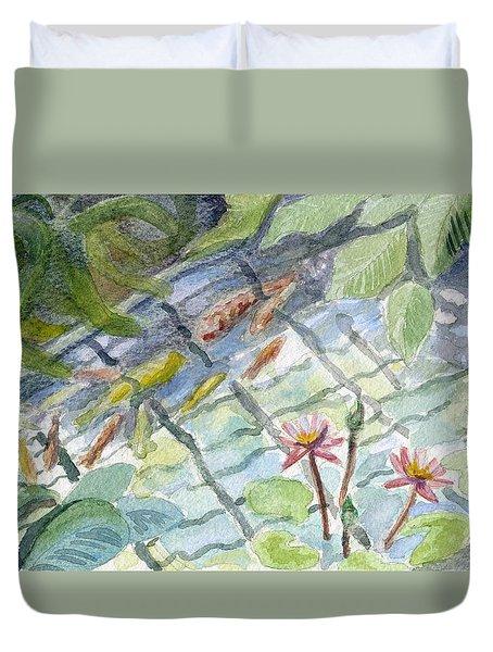 Koi Carp And Waterlilies. Duvet Cover