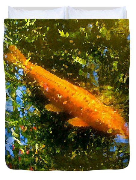 Koi Fish 1 Duvet Cover by Amy Vangsgard