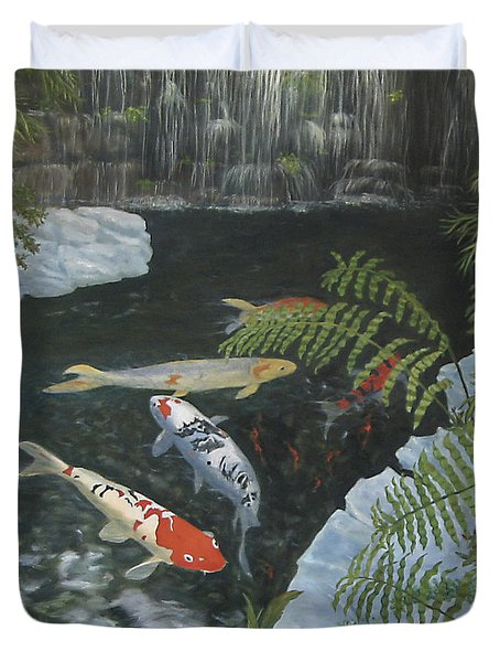 Duvet Cover featuring the painting Koi Fish by Karen Zuk Rosenblatt