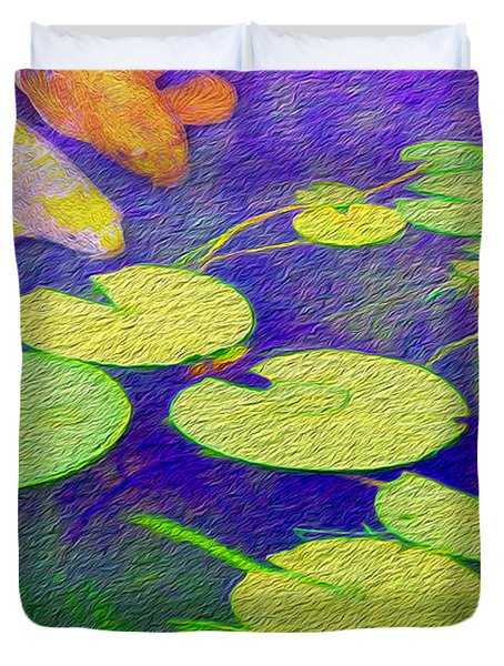 Koi Fish Under The Lilly Pads  Duvet Cover