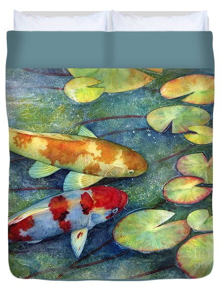 Duvet Cover featuring the painting Koi Garden by Hailey E Herrera