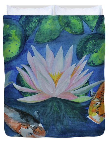 Koi In The Lily Pond Duvet Cover