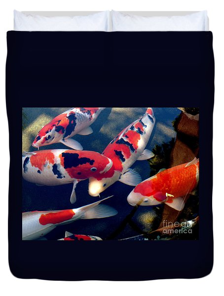 Duvet Cover featuring the photograph koi by Irma BACKELANT GALLERIES