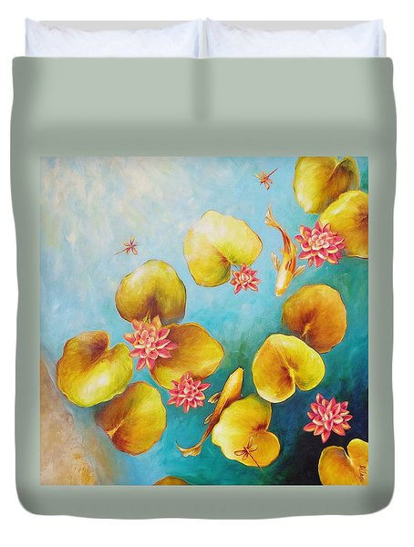 Duvet Cover featuring the painting Koi Pond by Dina Dargo