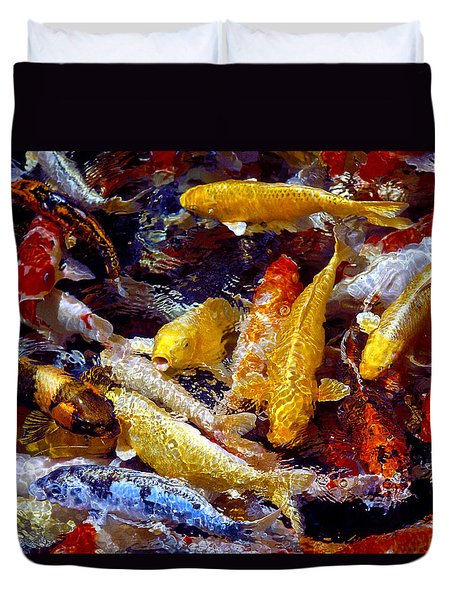 Duvet Cover featuring the photograph Koi Pond by Marie Hicks
