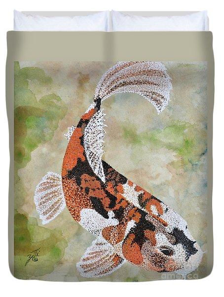 Duvet Cover featuring the painting Koi by Suzette Kallen