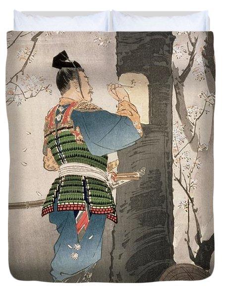 Kojima Takanori Writing A Poem Duvet Cover