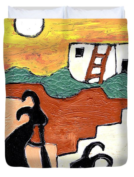 kokopeli at the Pueblo Duvet Cover