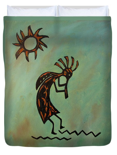 Duvet Cover featuring the painting Kokopelli Flute Player by Roseann Gilmore